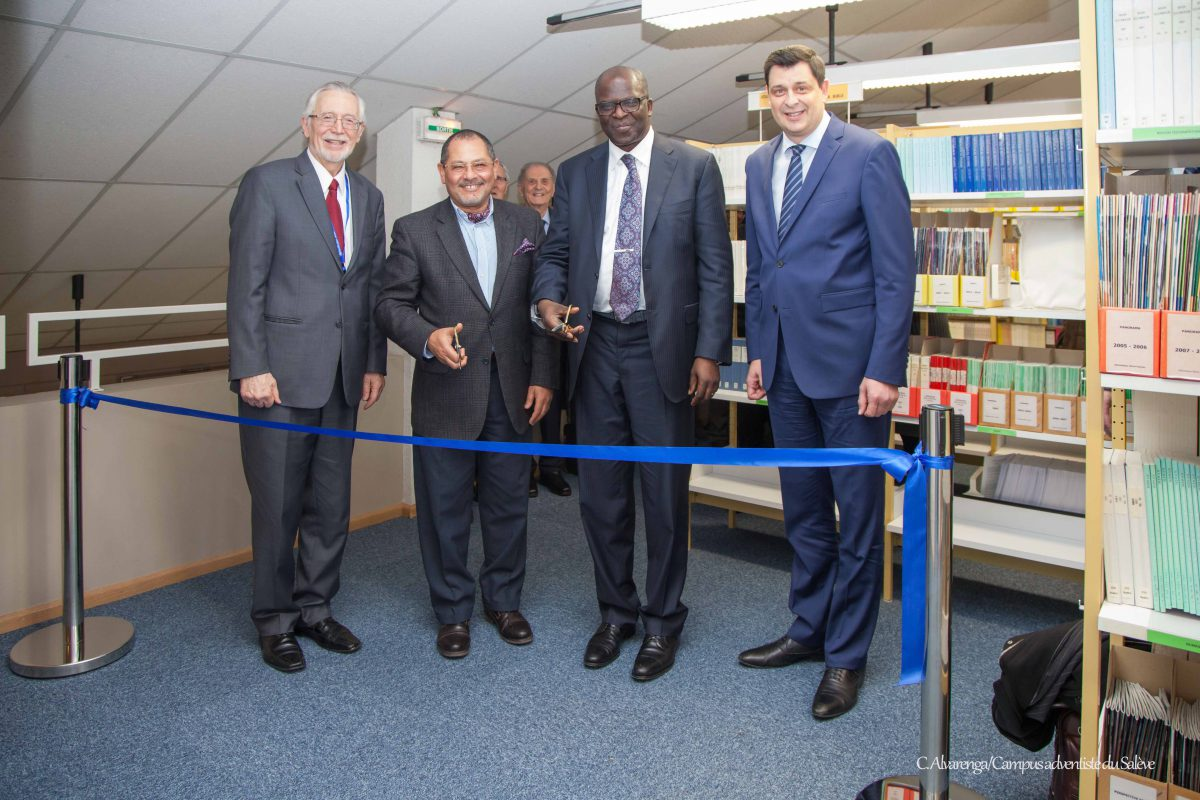 Dr. John Graz, director of the International Center for Religious Freedom and Public Affairs; Ambassador Ibrahim Salama, director of the Division of Treaties Relating to Human Rights at the High Commissioner for Human Rights' Office at the United Nations; Dr. Ganoune Diop, director of Public Affairs and Religious Liberty for the Adventist world church; Dr. Jean Phillippe Lehmann, principal of Campus adventiste du Salève. IRLA photo