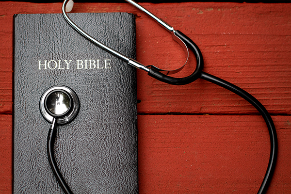 Bible and stethoscope